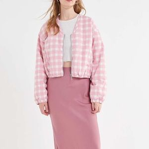 Urban Outfitters Cotton Gloria Pink Gingham Zip up Puffer Jacket Size M